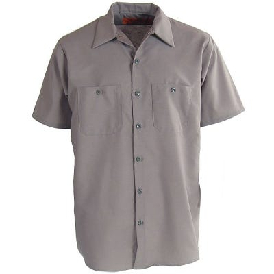 Red Kap Shirts Men 39 S Sp24 Gy Grey Industrial Short Sleeve