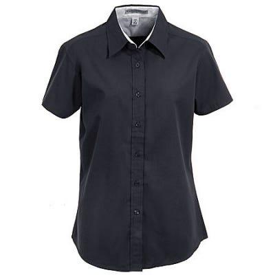 Port Authority L508 BLK Women's Black Short Sleeve Button Shirt