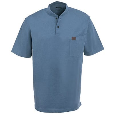 Wrangler Riggs Shirts: Men's 3W760 SB Cotton Jersey Henley Shirt - Blue