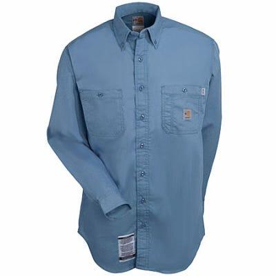Carhartt Shirts: Men's Blue FRS159 MBL Lightweight Flame Resistant Twill Shirt Sale $63.00 Item#FRS159MBL :