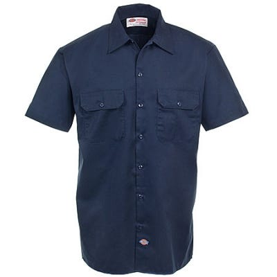 Dickies Shirts: Mens Navy 1574 NV Stain Release Short Sleeve Work Shirt