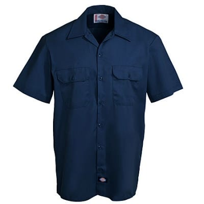 Dickies Shirts: Mens 1574 DN Dark Navy Stain Release Short Sleeve Work Shirt