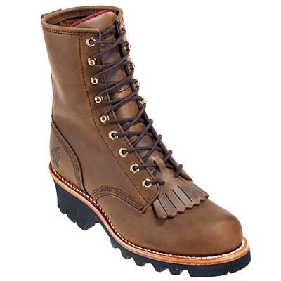 Chippewa Boots: Men's 26376 Brown Leather 8 Inch Logger Boots