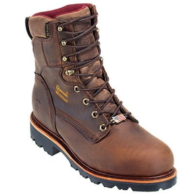 Chippewa Boots: Mens Waterproof 29416 Brown Insulated Work Boots