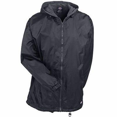 Dickies Jackets: Mens Black 33237 BK Fleece Lined Nylon Hooded Jacket