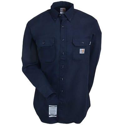 Carhartt Shirts: Men's FR Dark Navy FRS160 DNY Flame-Resistant Twill Work Shirt Sale $63.00 Item#FRS160DNY :