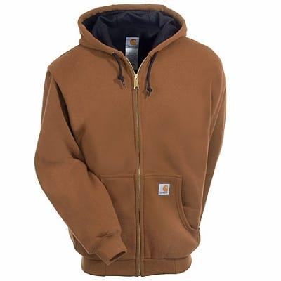 Carhartt Sweatshirts: Men's Brown J149 BRN Lined Hooded Zip Sweatshirt Sale $65.00 Item#J149BRN :