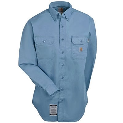 Carhartt Shirts: Men's FR Blue FRS160 MBL Twill Work Shirt Sale $63.00 Item#FRS160MBL :