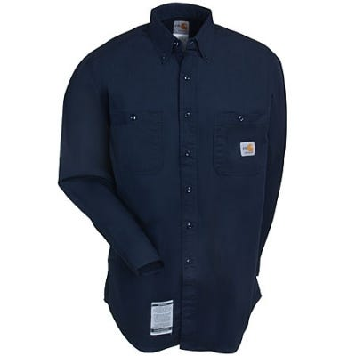 Carhartt Shirts: Men's Navy FRS159 DNY Flame-Resistant Cotton Blend Shirt Sale $63.00 Item#FRS159DNY :