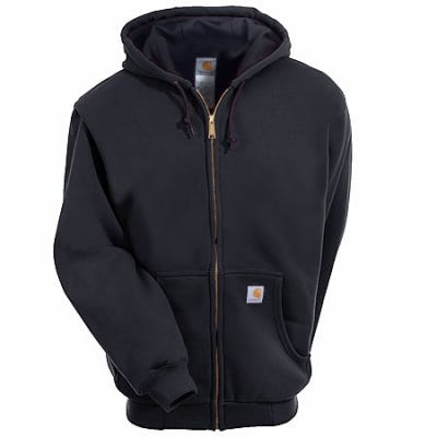 Carhartt Sweatshirts: Men's Black J149 BLK Lined Hooded Zip Sweatshirt Sale $65.00 Item#J149BLK :