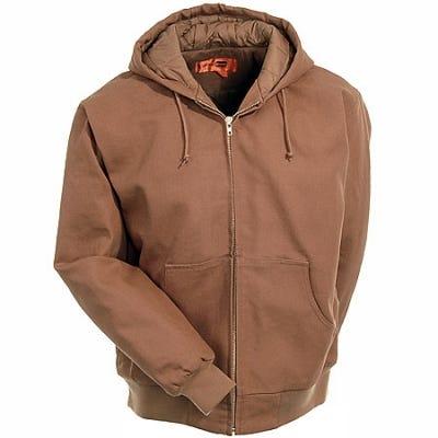 CornerStone Jackets Outerwear Jackets Brown Hooded Cotton Duck Work Jacket J763H