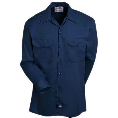 Dickies Mens Dark Navy Long Sleeve Work Shirt Uniform Button Up Casual Shirt 574
