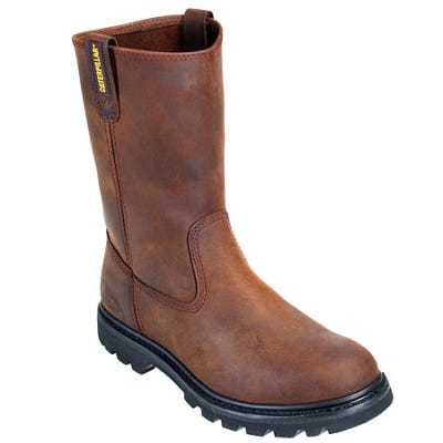 Caterpillar Boots: Men's Brown Revolver Slip-On 72191 Wellington Slip-Resistant Boots