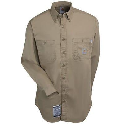 Carhartt Shirts: Men's Khaki FRS159 KHI Lightweight Flame Resistant Twill Shirt Sale $63.00 Item#FRS159KHI :