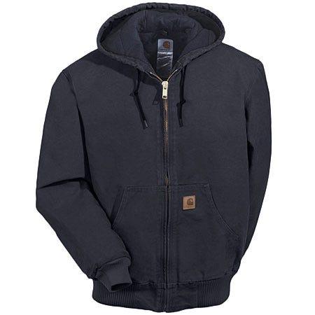 Carhartt J130 BLK Black Sandstone Quilted Flannel Lined Jacket Sale $90.00 Item#J130BLK :