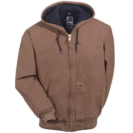 Carhartt Jackets: Men's Brown Quilt-Lined Hooded Jacket J130 211 Sale $90.00 Item#J130-211 :