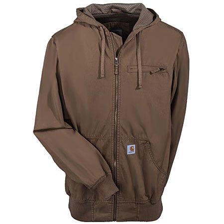 Carhartt Jackets: Men's Frontier Brown Cotton Canvas Zip Jacket J298 FRB Sale $95.00 Item#J298FRB :