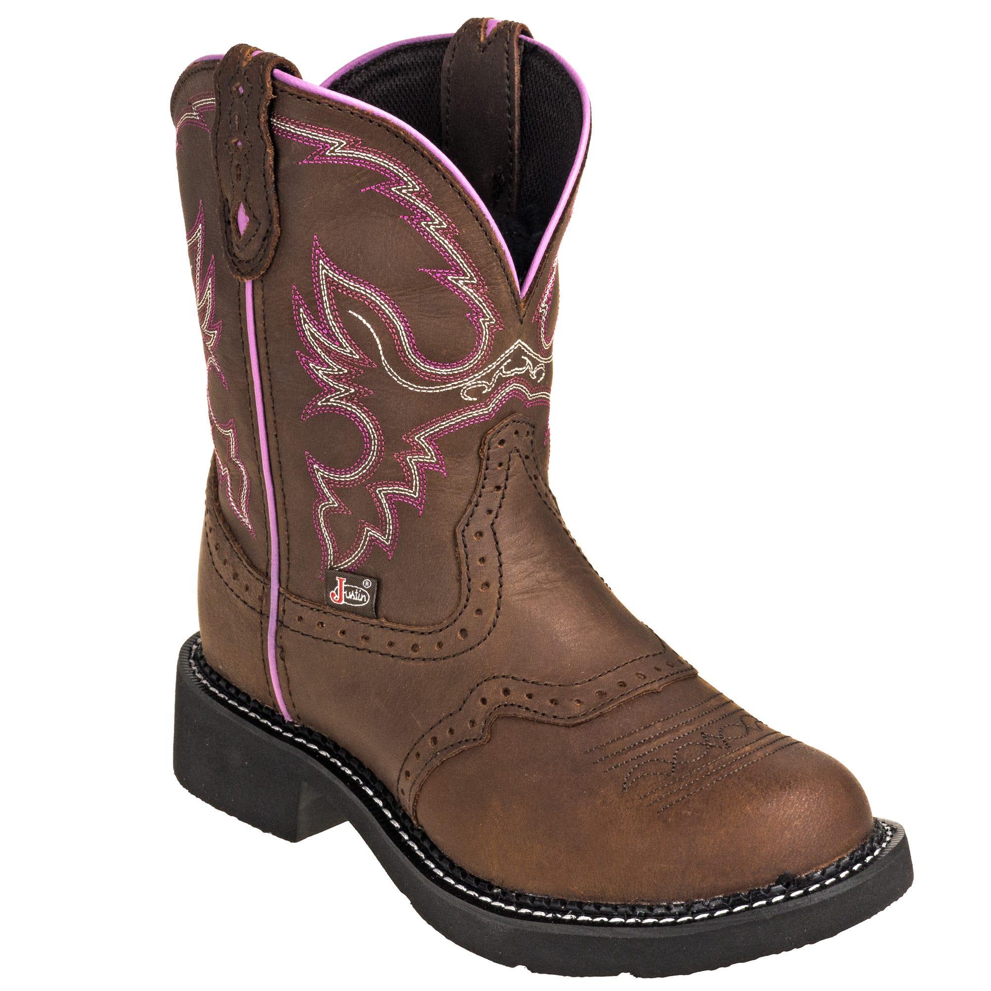 Justin Women's L9903 Brown 8-Inch General Toe Gemma Cowboy Boots