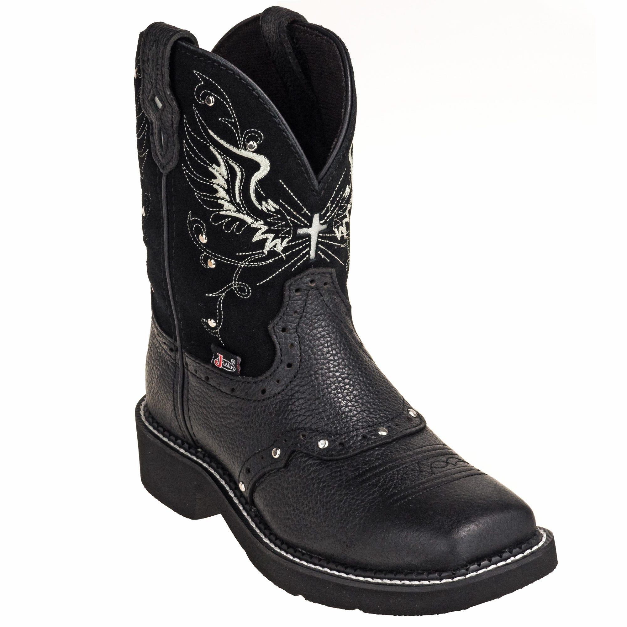 Justin Women's L9977 Black Rhinestone Mandra 8-Inch Cowboy Boots
