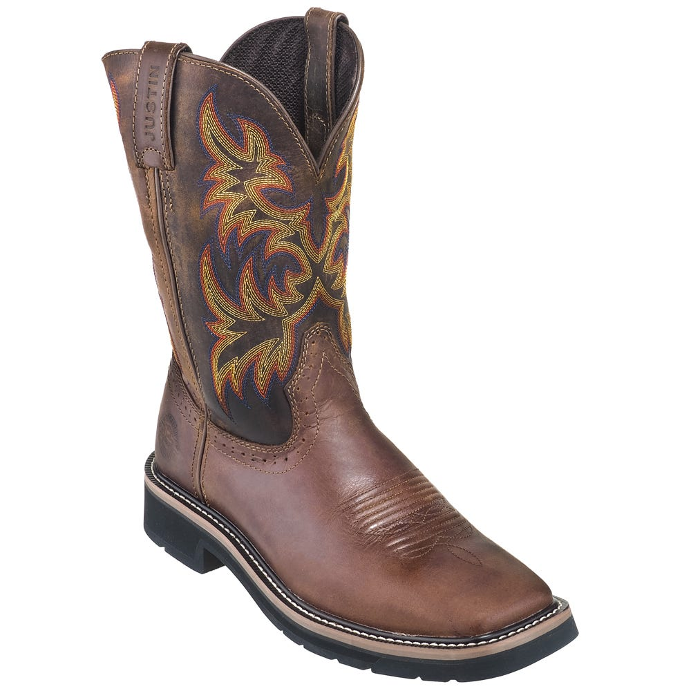 Justin Boots Men S Wk4681 Brown Square Toe Stampede Boots