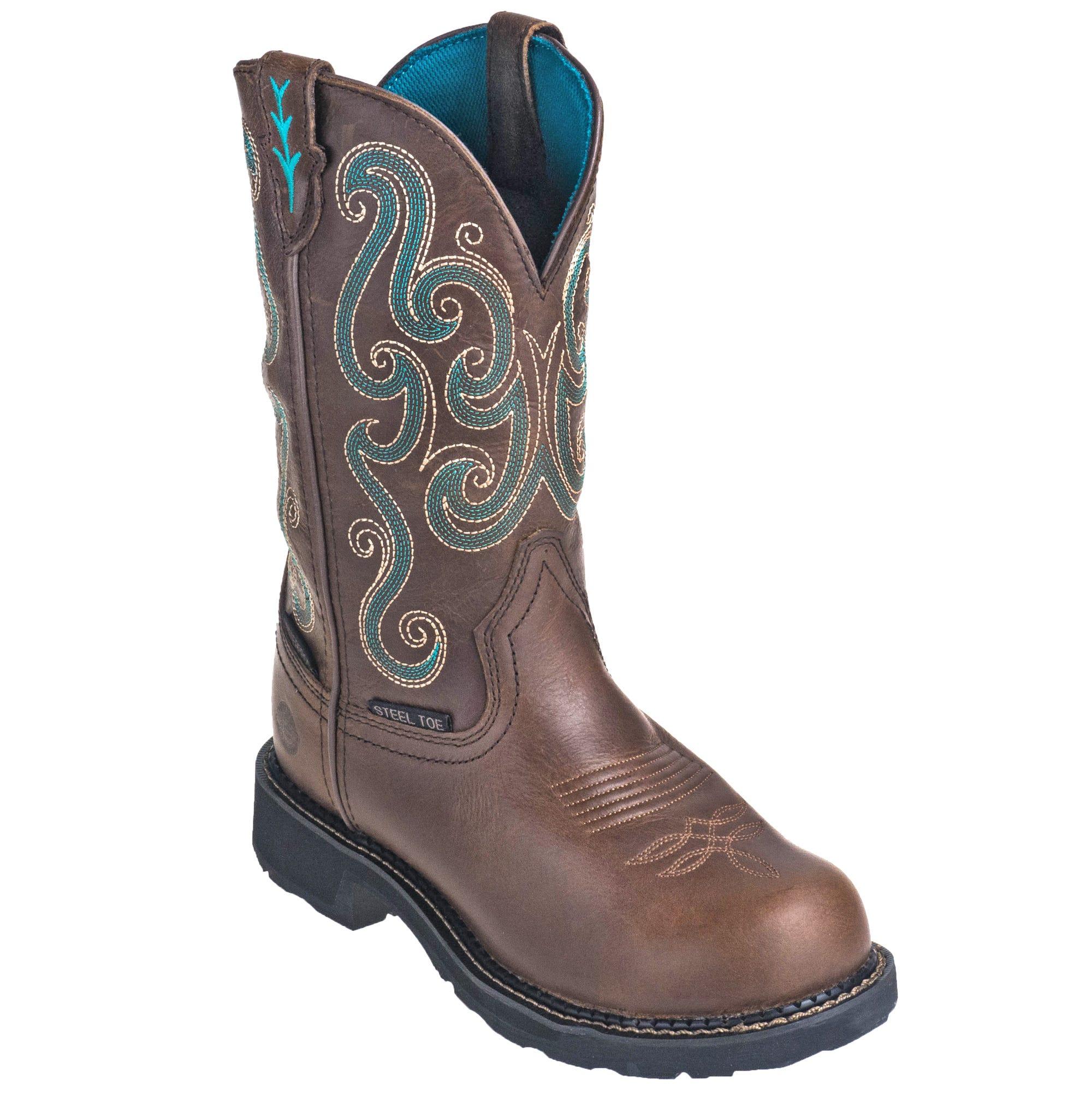 Justin Women's WKL9991 Waterproof Steel Toe EH Tan Gypsy Pull-On Work Boots