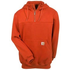 Carhartt Sweatshirts: Men's Red Orange K217 RDO Heavyweight Hooded Zip Mock Sweatshirt Sale $63.00 Item#K217RDO :
