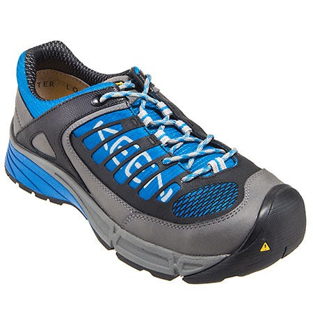 Keen Footwear: Men's 1011346 Grey Blue Steel Toe ESD Work Shoes