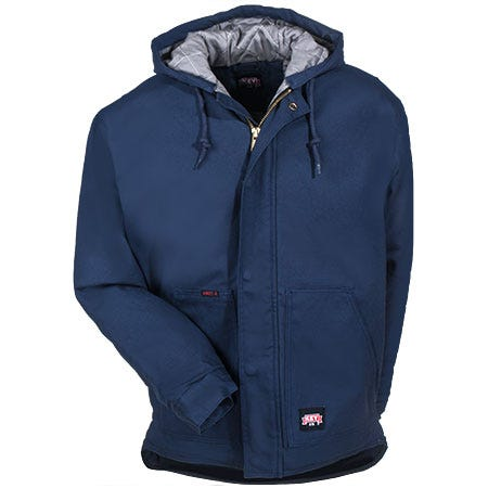 Key Jackets: Men's Navy Fire Resistant Insulated Hooded Duck Jacket 387 40 Sale $160.00 Item#387-40 :