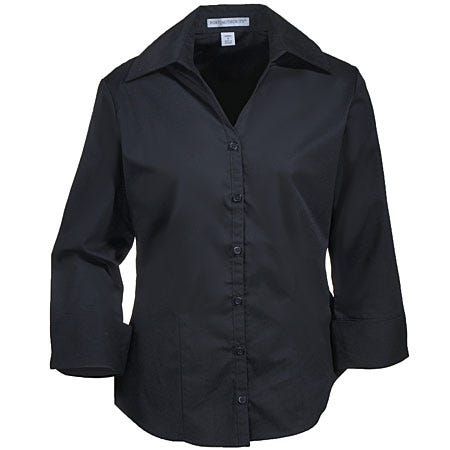 Port Authority L6290 Black Womens 3/4 Sleeve Open Neck Blouse