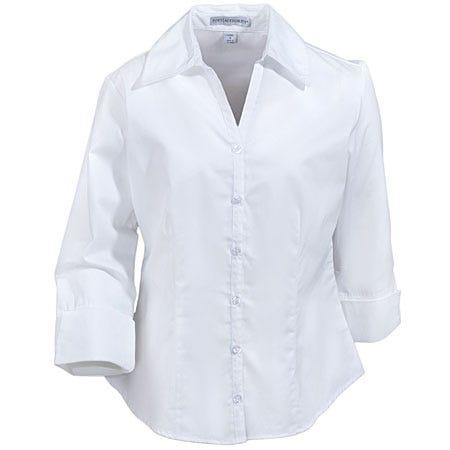 Port Authority L6290 White 3/4 Sleeve Open-Neck Blouse