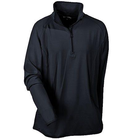 Sport Tek Ladies LST850 BLK Black 1/2 Zip Stretch Pullover
