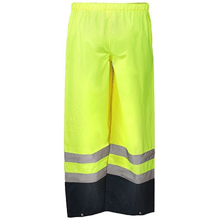 Occunomix Pants: Men's High Visibility Yellow Rain Pants LUX TENR YEL