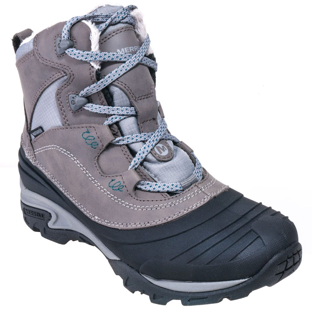 Merrell Women's J55622 Grey Waterproof Insulated Snowbound Mid Boots