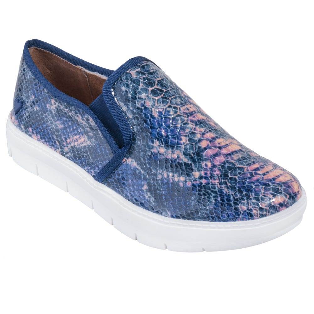 Nurse Mates Shoes: Women's 259637 Blue Pink Snake Non-Slip Slip-On Adela Nursing Shoes