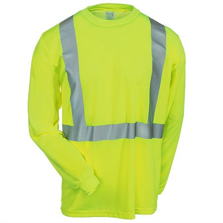 Occunomix Shirts: Men's High Visibility Yellow Long Sleeve Shirt LUX LSET2B