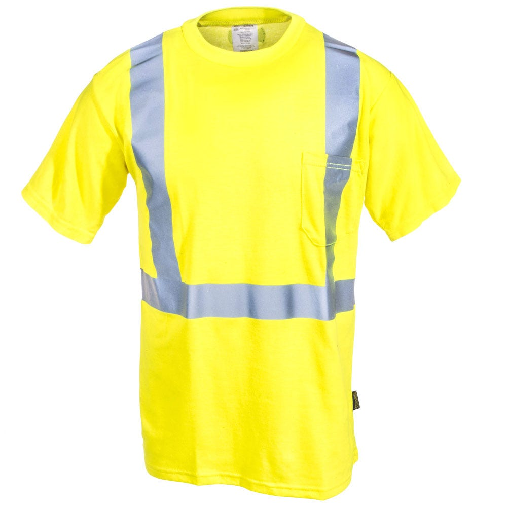 Occunomix shirts men 39 s hi vis lux tp2 fr y yellow flame for Wholesale high visibility shirts