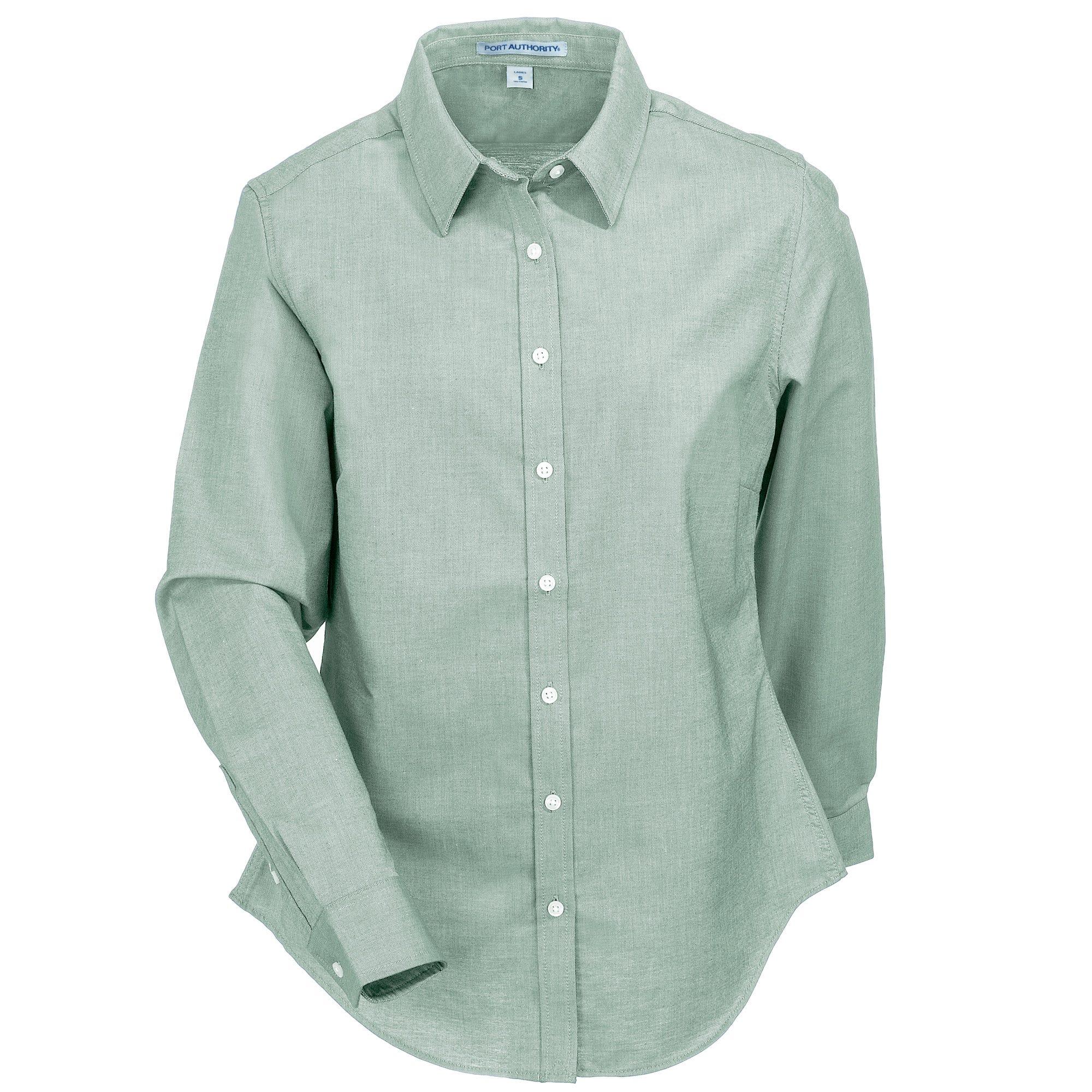 Port Authority Women's L658 GRN SuperPro Green Oxford Shirt