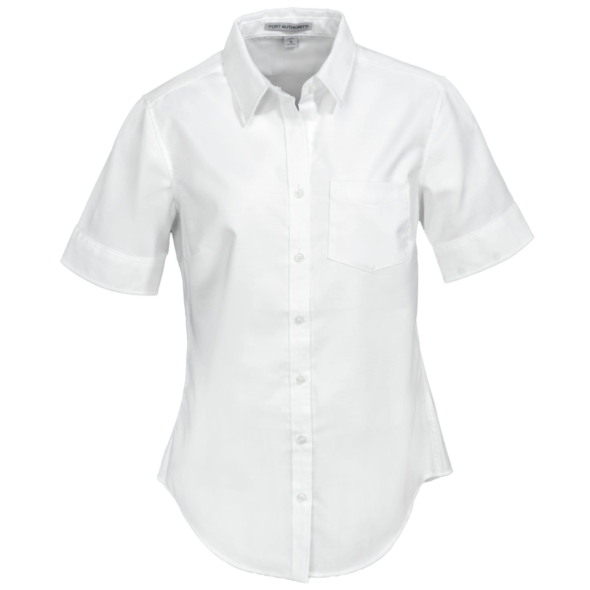 Port Authority Women's L659 WHT White SuperPro Oxford Short-Sleeve Shirt
