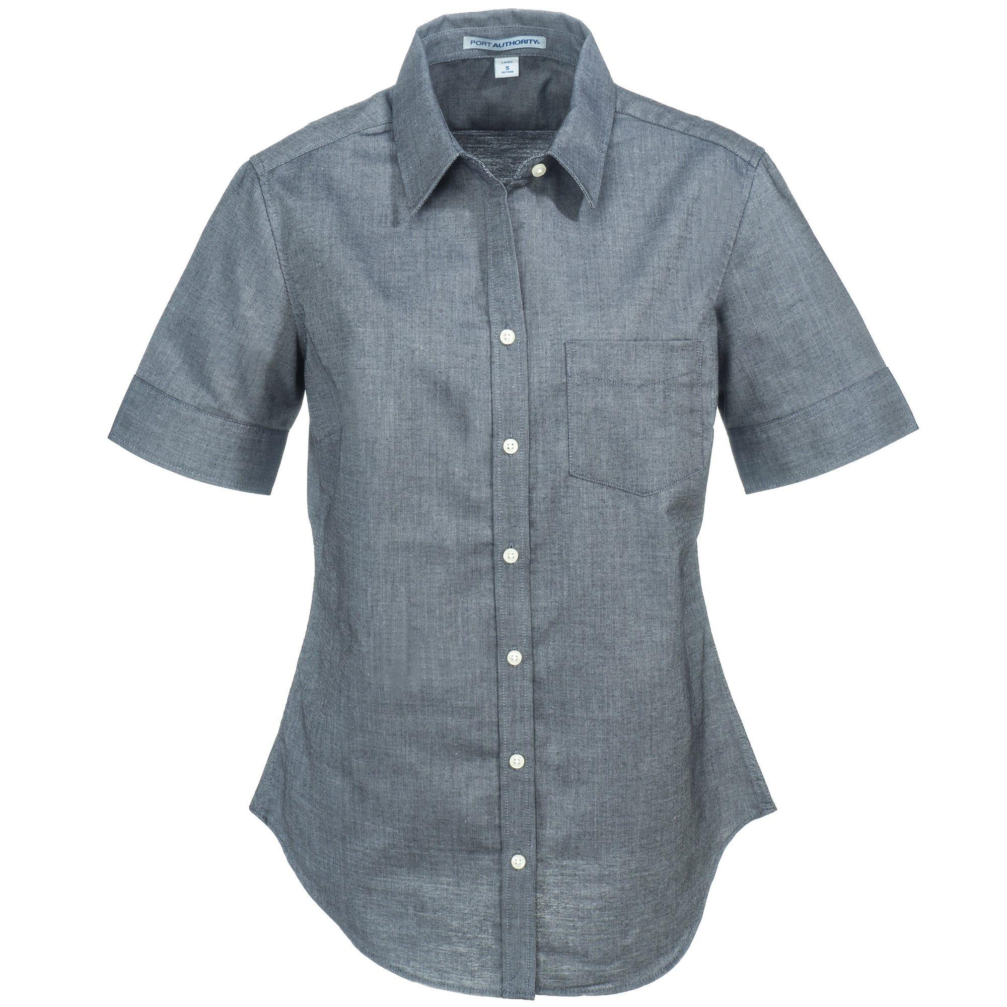 Port Authority Women's L659 BLK Short-Sleeve Black SuperPro Oxford Shirt
