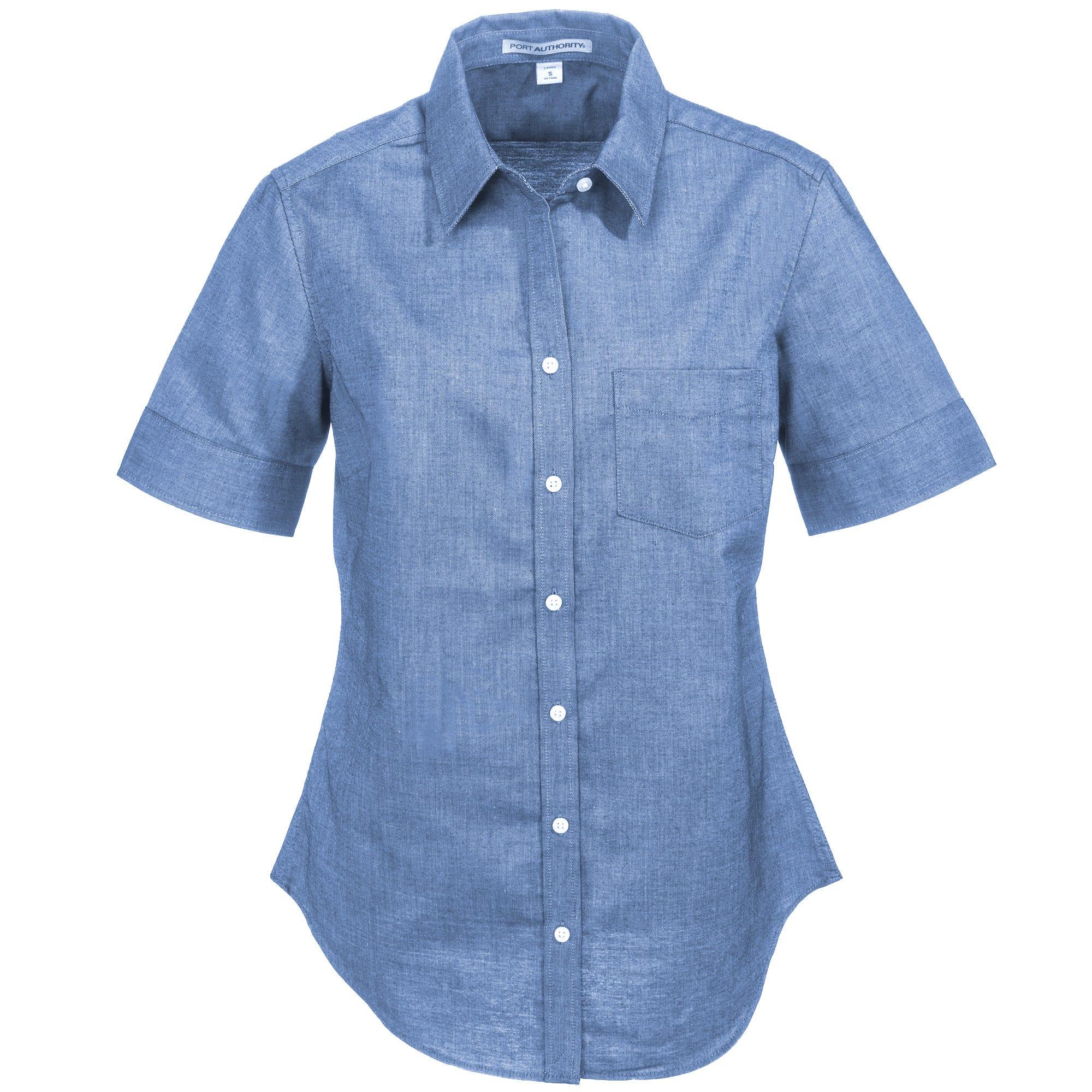 Port Authority Women's L659 NVY Navy Blue SuperPro Oxford Short-Sleeve Shirt
