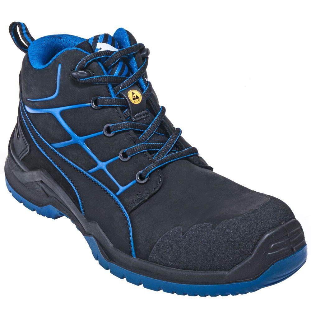Puma Boots: Mens 63.420.5 Blue ESD Composite Toe Mid Technics Boots