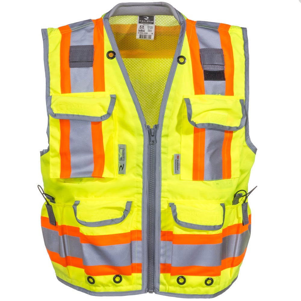 Radians Unisex SV55 2ZGD High Visibility Green Class 2 Engineer Vest