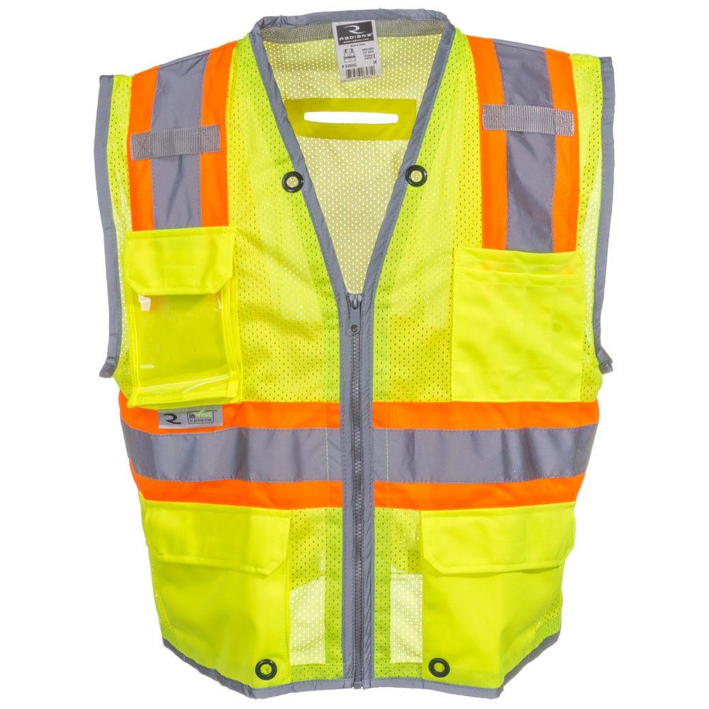 Radians Unisex High Visibility SV6H G Green ANSI Class 2 Pocketed Vest