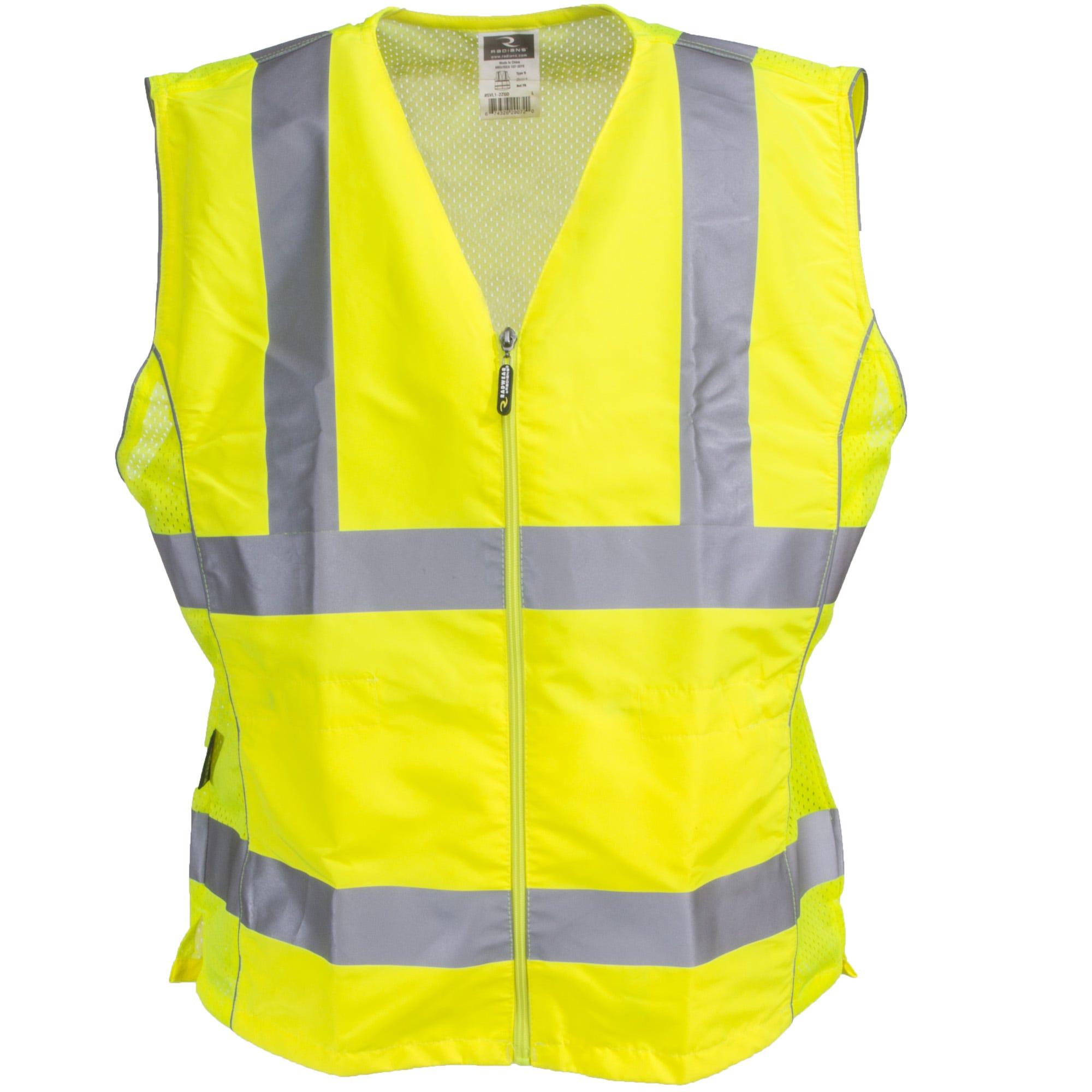 Radians Women's Green Hi Vis SVL1 2ZGD Contoured Adjustable Waist Safety Vest