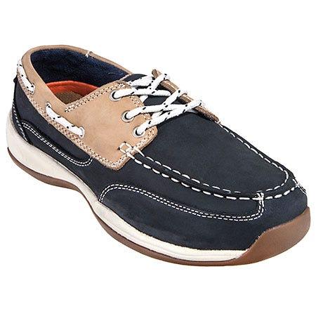 Rockport Works Women's RK670 Steel Toe Navy ESD Boat Shoes