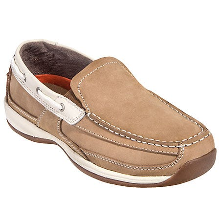 Rockport Works Shoes: Women's RK673 Tan Steel Toe ESD Slip-On Boat Shoes