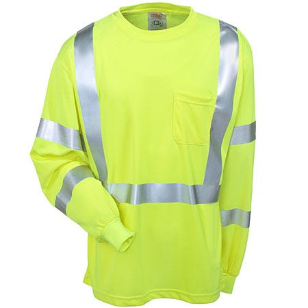 Tingley Shirts: Mens Lime Green High-Visibility S75522 Long-Sleeve Tee Shirt