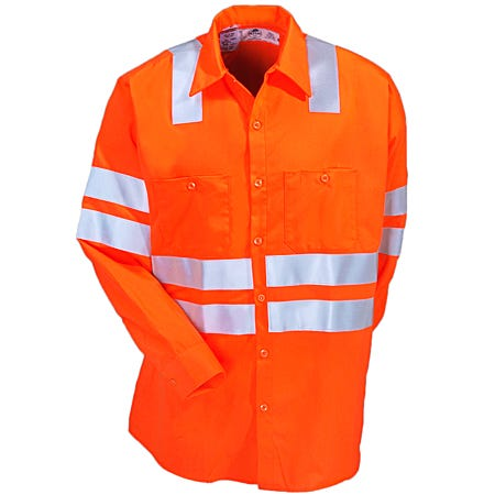 Red Kap Shirts: Men's SS14 OF High Visibility Orange Long Sleeve Work Shirt Sale $83.00 Item#SS14OF :
