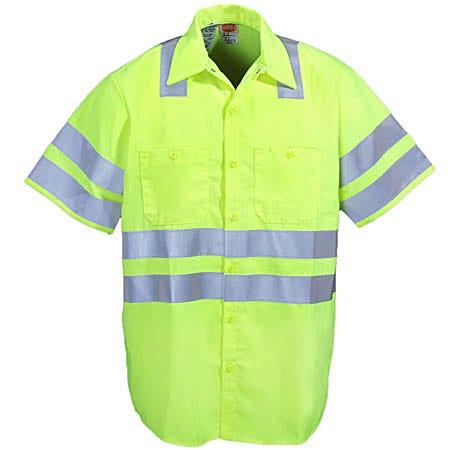 Red Kap Shirts: Men's High Visibility Yellow Short Sleeve Shirt SS24 AB Sale $73.00 Item#SS24AB :
