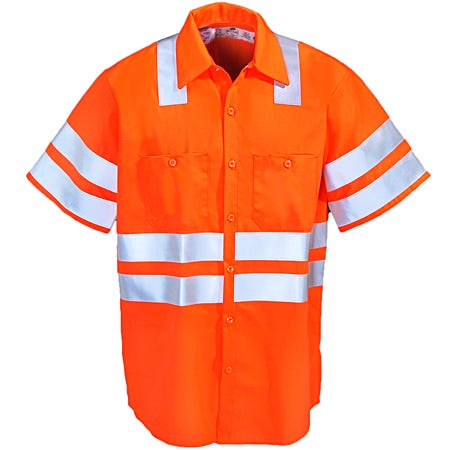 Red Kap Shirts: ANSI Class 3 High Visibiilty Orange Work Shirt SS24OF Sale $82.00 Item#SS24OF :